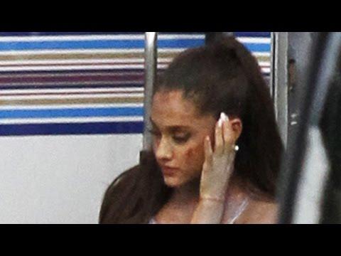 Ariana Grande Bloody Photos From Scream Queens Set