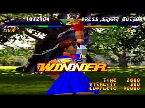 Street Fighter EX plus Alpha [PS1(ePSXe)]: Sakura Kasugano Arcade Playthrough (Hardest)