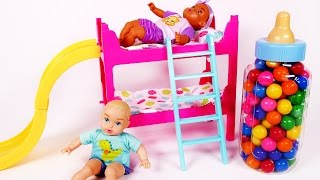 Baby Doll Bunk Bed Learn Colors with Candy Feeding Time