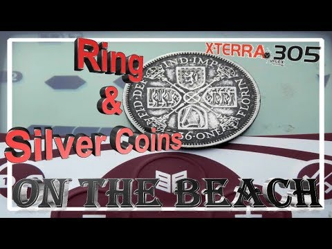 Minelab X terra 305 metal detector Review, setup and beach metal detecting, ring and silver coins