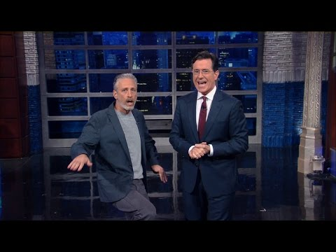 Jon Stewart Crashes Stephen  s Monologue