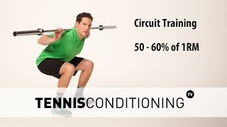 http://www.TennisConditioning.TV The Circuit Training for Cardiovascular Improvements consists of 8 resistance training exercises and allows athletes to develop aerobic & anaerobic energy pathways.You want to workout at 50 – 60% of your 1 rep max. Learn more about the 1 repetition maximum and how to calculate exercise intensities: http://www.tennis-conditioning.com/2011/12/how-to-predict-exercise-intensity-the-1-repetition-maximum/Download the workout and get more information on circuit training: http://www.tennis-conditioning.com/2016/08/tennis-circuit-training/ Like the shirt? Get it at http://www.StyleConditioning.com Connect with Philipp Halfmann: http://www.PhilippHalfmann.com  Music by TOBU https://www.youtube.com/tobuofficialCONNECT WITH TENNIS CONDITIONING TV- Visit our BLOG: http://www.tennis-conditioning.com- Subscribe to Tennis Conditioning TV: http://www.youtube.com/subscription_center?add_user=TennisConditioningTV- Like us on FACEBOOK: https://www.facebook.com/TennisConditioningTV- Follow us on TWITTER : https://twitter.com/TennisCondiTV- Website: http://www.TennisConditioning.TV- YouTube Channel Page: https://www.youtube.com/TennisConditioningTV- Google+: http://www.google.com/+TennisconditioningTv_Page- Pinterest: http://www.pinterest.com/tennisconditvABOUT USwww.Tennis-Conditioning.tv provides coaches and athletes with educational content, blog posts, news articles, videos, pictures and images. We are passionate about delivering thought provoking tennis-specific news and teaching people how to do something or explaining to them why something is beneficial to them because we believe in the notion that knowledge is power. We don't like to advocate something we don't believe in. We desire to share our thoughts, it's not illegal yet, and hence enable a worldwide audience to benefit as well.Featured Tennis Conditioning TV episodes include:- Professional Tennis Training Session with Alexander Ritschard (http://youtu.be/9EnfIt739pU)- How Flexibility Impacts
