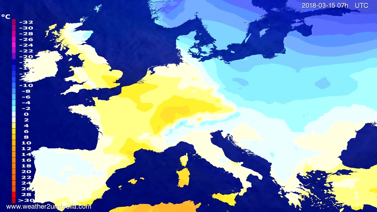 Temperature forecast Europe 2018-03-11