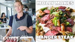 Molly Makes Hanger Steak With Charred Scallion Sauce  From The Test Kitchen  Bon Appétit