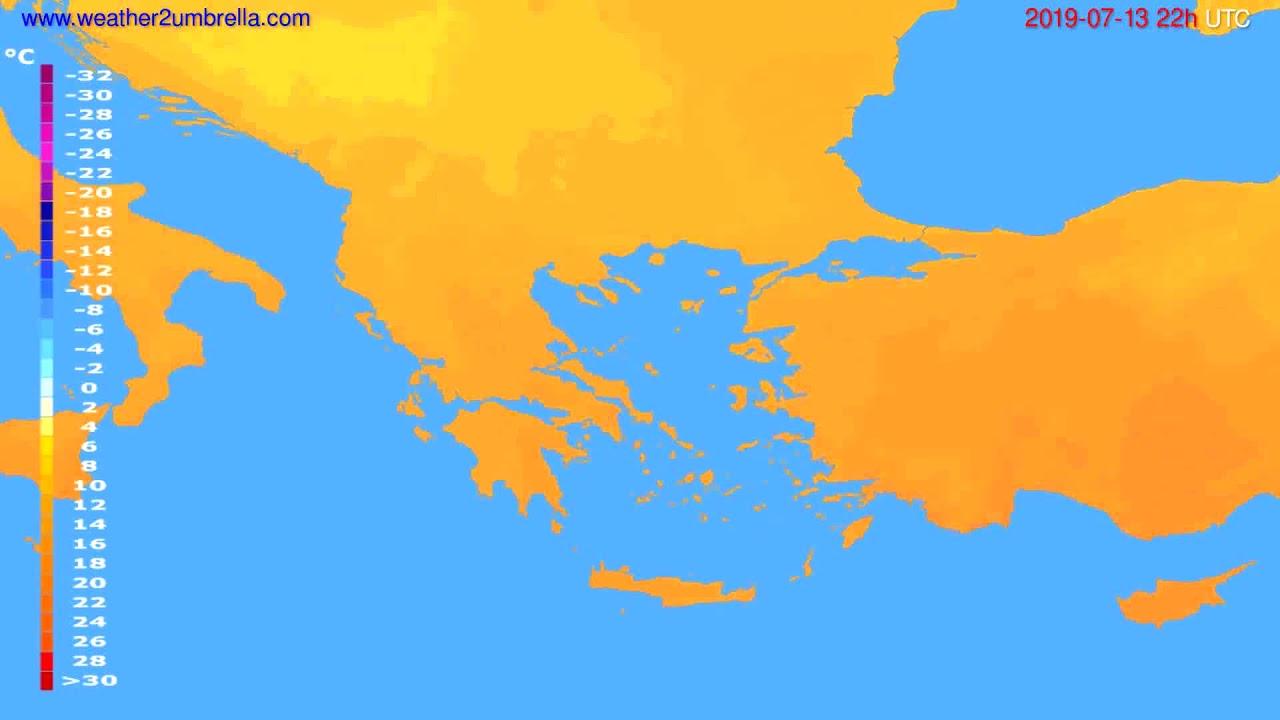 Temperature forecast Greece // modelrun: 12h UTC 2019-07-11