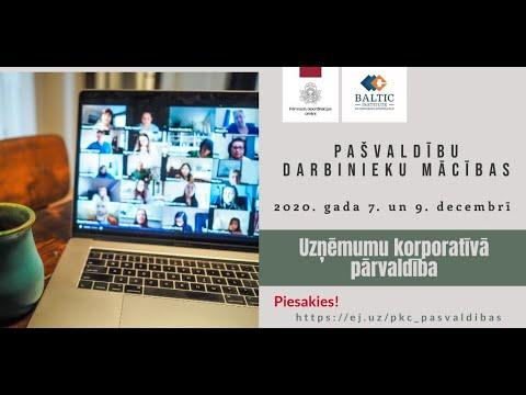 Mācības pašvaldību darbiniekiem par uzņēmumu korporatīvo pārvaldību 2020. gada 9. decembrī