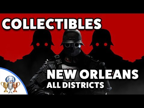 Wolfenstein 2 The New Colossus New Orleans Collectibles - Wall, Gehtto, Bienville Street & Lakeview (видео)