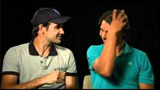 Roger Federer and Rafa Nadal trying to make a tv spot for Spain and roger is tempted when rafa try to speak English. It's so funny.