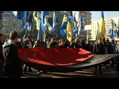 election - Activists of the far-right Ukrainian Svoboda (Freedom) party protested against what they claim to be the