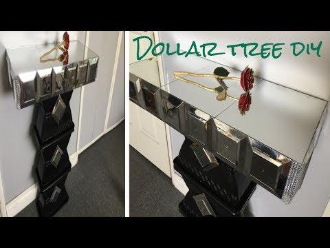 Dollar tree DIY/ Mirrored side table so glamorous!