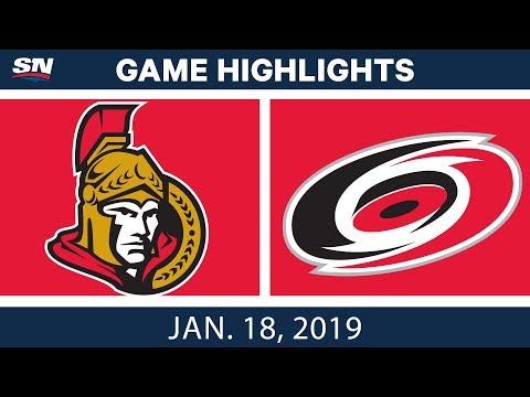 NHL Highlights | Senators vs. Hurricanes - Jan. 18, 2019