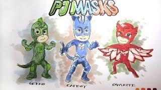 Cartoon Series:  Disney Jr's PJ Masks Time-Lapse Drawing