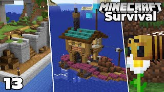 Let's Play Minecraft Survival : New Village Progress, Boat, and Bees!