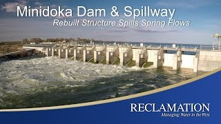 Minidoka Dam and Spillway's newly-rebuilt spillway and gate structure pass high flows during spring runoff in 2017.