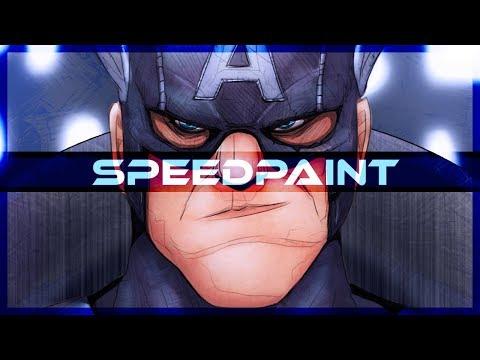 Cap America Marvel Comics SpeedPaint on PSD - Thời lượng: 10 phút.