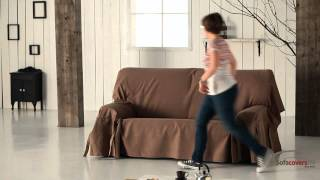 How to install a sofa cover with ties - YouTube