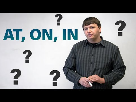 place - http://www.engvid.com/ In this lesson, I look at 3 common prepositions of place. Want to know how to use AT, ON, and IN? Have a look at this video, and impro...