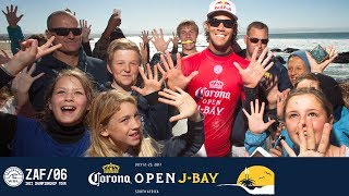Jordy Smith scored two perfect 10s in a heat for the first time in J-Bay history, and the first time in his career. #WSL #jbay...