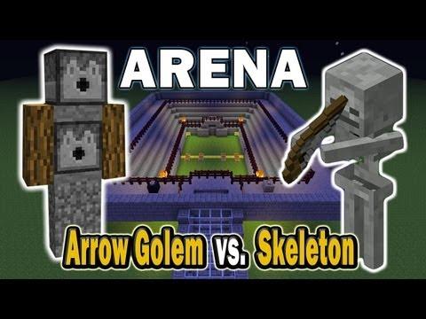 Minecraft Arena Battle Arrow Golem vs. Skeleton
