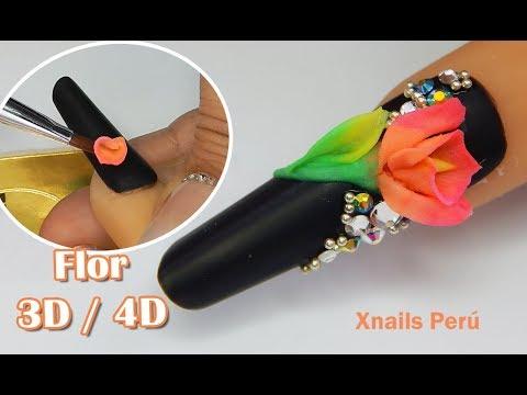 Videos de uñas - Uñas Acrilicas Mate con Flor 3D / 4D / Xnails Peru