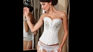White Rhinestones Corsets   Wholesale Fashion Overbust Corsets US$28