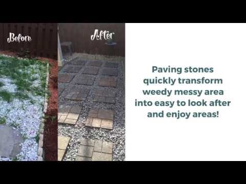 Paving Stones Quickly Transform Weedy Messy Area Into Easy To Look After And Enjoy Areas.