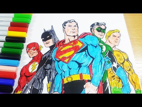 Justice League Coloring Pages - Superman Batman Flash Green Latern Aquaman Coloring Book 2018