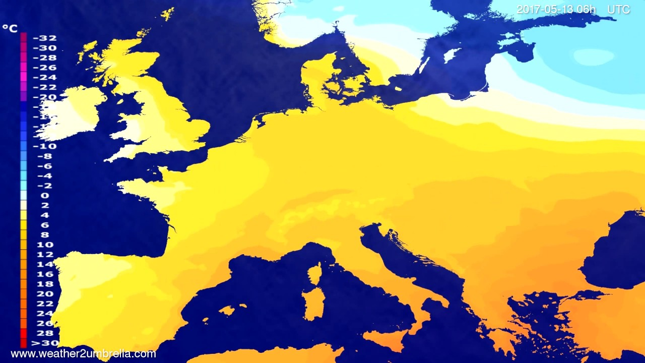 Temperature forecast Europe 2017-05-10