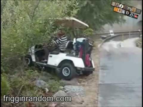 Asian Girl Driving Golf Cart Fail