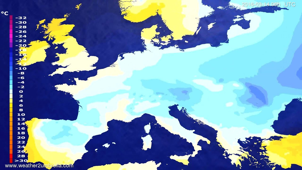 Temperature forecast Europe 2016-03-11