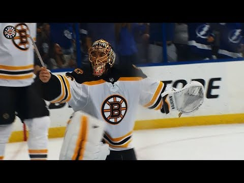 Video: Rask furious after broken skate leads to Lightning goal