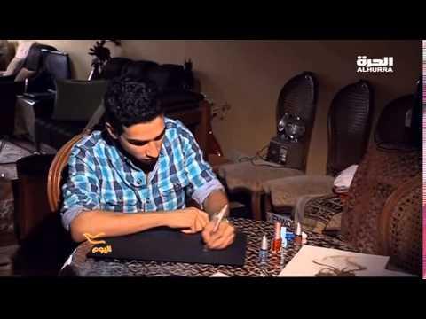 فنان مصرى يرسم بالكلور ومعجون الأسنان