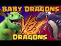 Baby Dragons vs Dragons - Clash of Clans Battle! Mass Troop Attacks