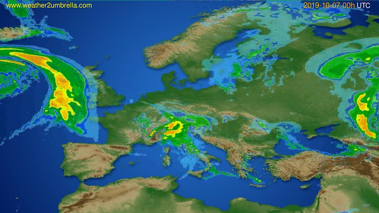 Radar forecast Europe // modelrun: 12h UTC 2019-10-06
