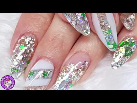 Acrylic Nails  New Set  Tips  Geometric Christmas Design