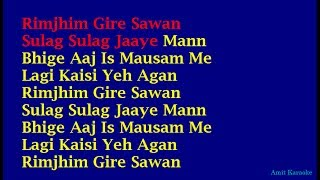Rimjhim Gire Sawan - Kishore Kumar Hindi Full Karaoke with Lyrics