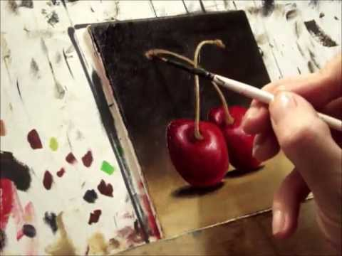 painting cherries - http://janepalmerfineart.blogspot.co.uk/ A painting of cherries painted from life. canvas board size- 10 x 10 cm find me on Facebook ~ https://www.facebook.c...