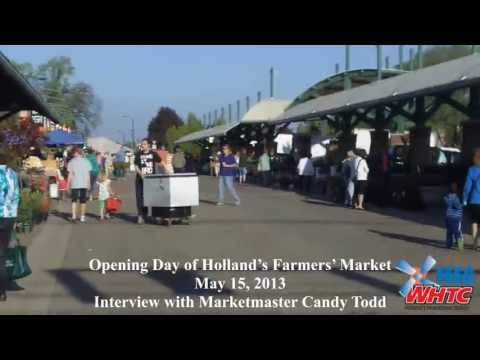 Images from Opening Day of the Holland Farmer's Market on May 15, 2013, with WHTC News Director Gary Stevens chatting with Marketmaster Candy Todd.