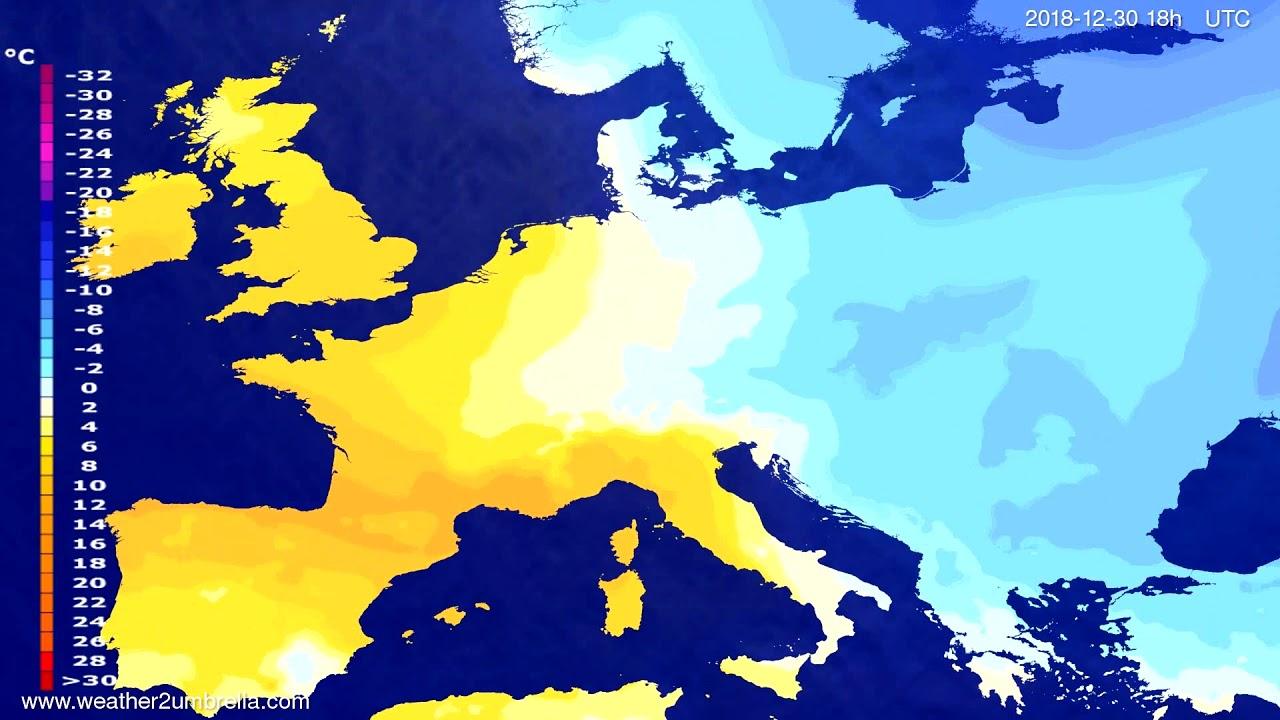 Temperature forecast Europe 2018-12-27