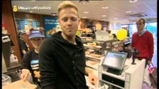 Nicky Byrne at Greggs the Bakers for Children in Need 2012