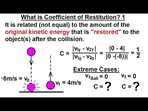 Physics: Mechanics- Momentum (1 of 9) What is Coefficient of Restitution? 1