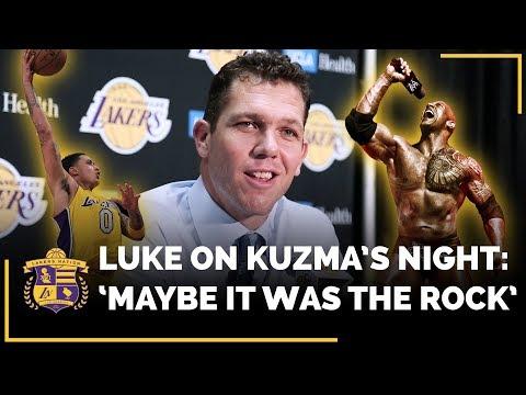 Video: Luke Walton Thinks Dwayne 'The Rock' Johnson Might Have Had Some Influence On Kyle Kuzma's Big Night