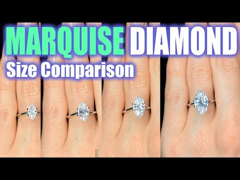 Marquise Cut Diamond Size Comparison on Hand Finger Engagement Ring Shaped 1 Carat 3 ct .33 2.5 1.5
