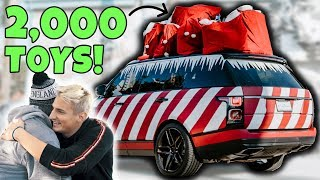 GIVING 2,000 TOYS TO KIDS IN NEED on SANTA'S SLEIGH! (Emotional)