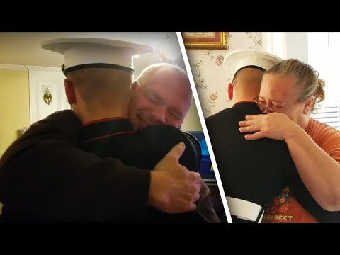 Mom Bursts Into Tears as Marine Son Surprises Her After Graduating