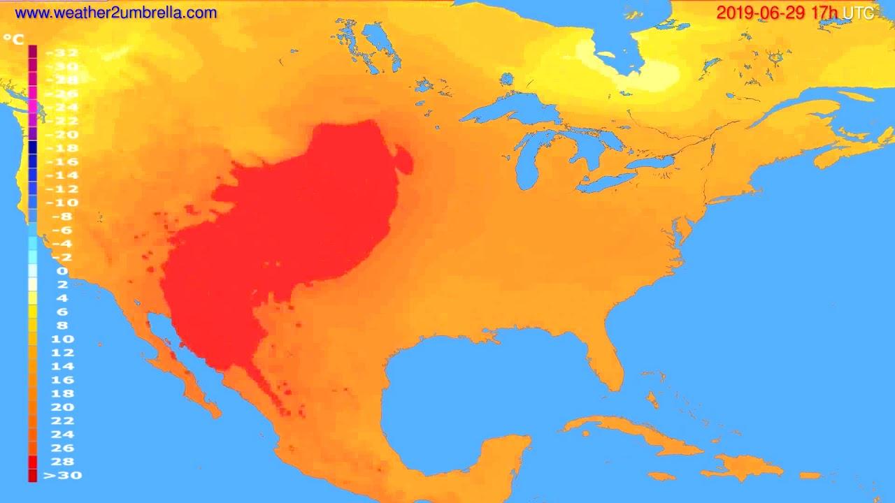 Temperature forecast USA & Canada // modelrun: 00h UTC 2019-06-28