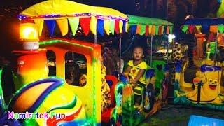 Pikachu Pokemon Go Naik Odong odong Kereta Api Anak Mini di Pasar Malam