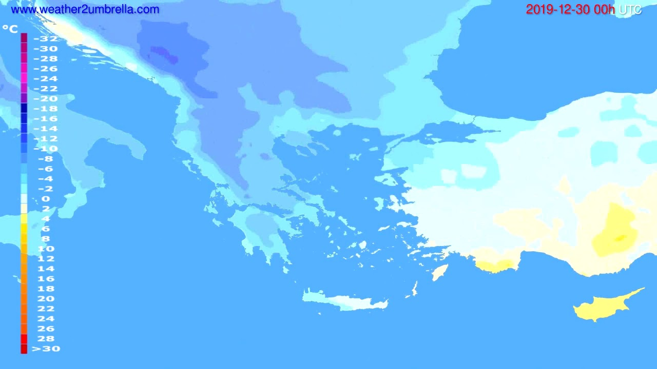 Temperature forecast Greece // modelrun: 00h UTC 2019-12-29