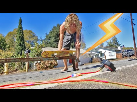 DANGEROUS ELECTRIC SKATEBOARD RAIL! (Dont try this)_Legjobb vide�k: Extr�m