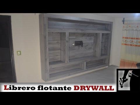 Librero flotante con panel de yeso y piso laminado || Drywall